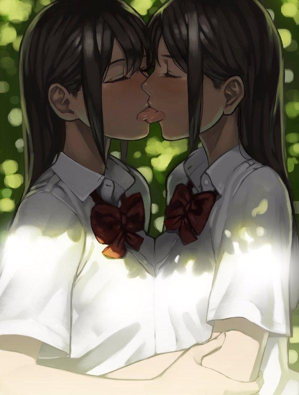 百合女子高生キス